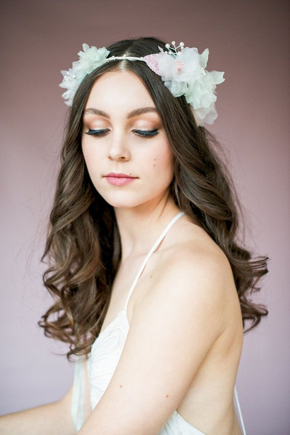 Blush Floral Crown, Flower Headband, Silk Flower Circlet, Ivory Halo, Floral Halo, Mint Headpiece, Bridal Accessory, Bridal Hair Crown, TARA