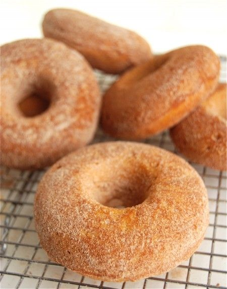 Baked Pumpkin Doughnuts.  I used less oil, less sugar, and half ww flour. I used the whole can of pumpkin.  mini muffins baked for about 16-17 minutes.  Will try 2 eggs next time.  3 seemed like too many.