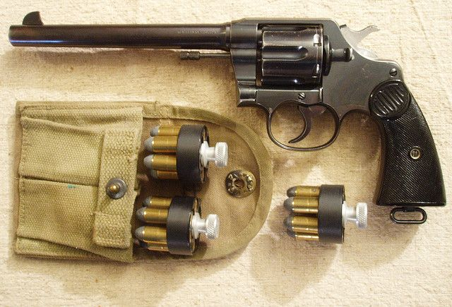 Colt New Service Double Action, 45Long Colt--it replaced the 1873 Single Action Army--Border Patrol duty anyone? Great fun shooting gun.