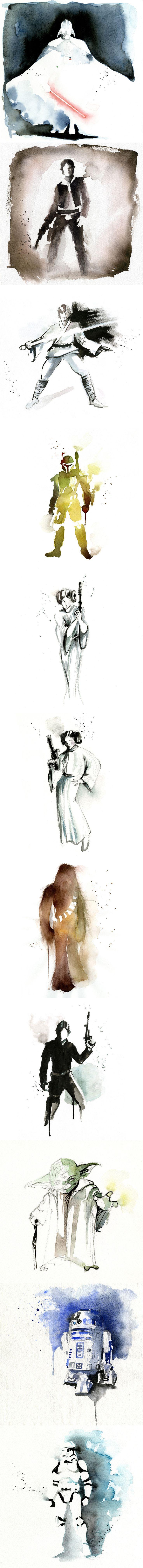 Minimalist Star Wars watercolors by Blule.