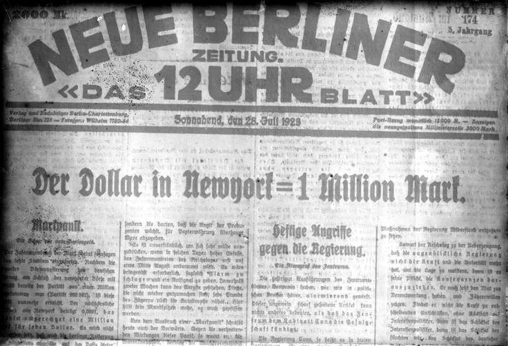 Diario del 28 de julio de 1923, en el titular dice que al cambio, un dólar estadounidense equivale a un millón de marcos.