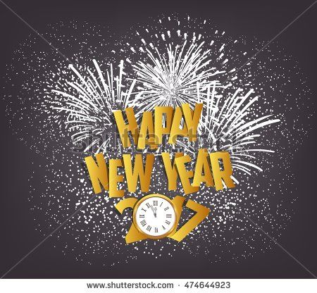 Happy New Year 2017 with clock and fireworks