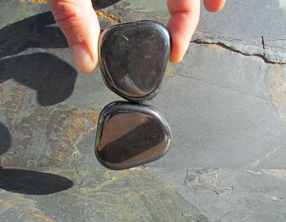 2 Magnetite Stone Set  Magnetite Flat Polished Stones