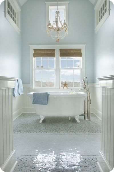 twin vanity cottage bath with clawfoot tub & high ceilings