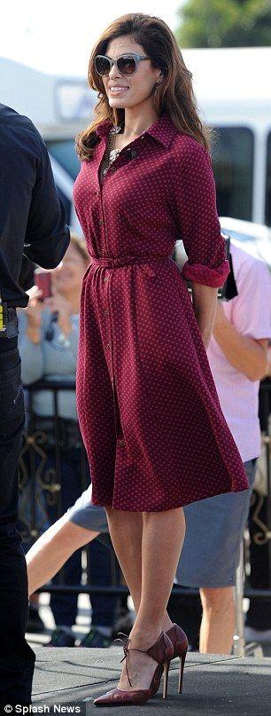 Eva Mendes|Polka Dotted Shirt Dress|Long Sleeve|Knee Length