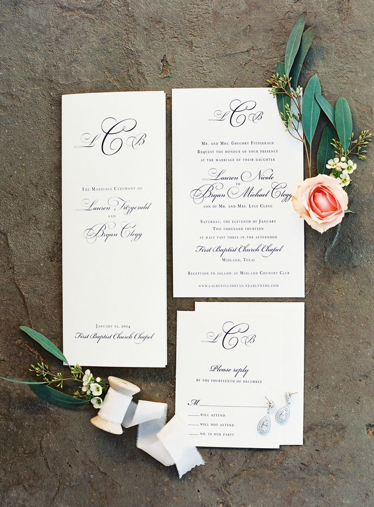 Classic invitations   Read More: http://www.stylemepretty.com/2014/08/12/elegant-midland-country-club-wedding/   Photography: Kayla Barker Fine Art Photography - www.kaylabarker.com