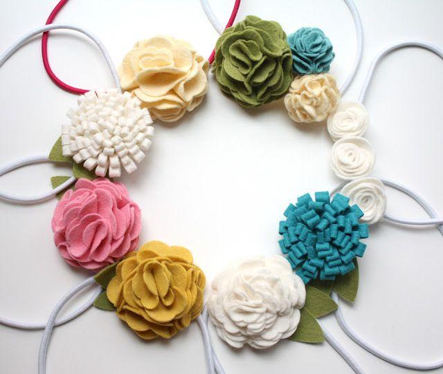 different felt flowers