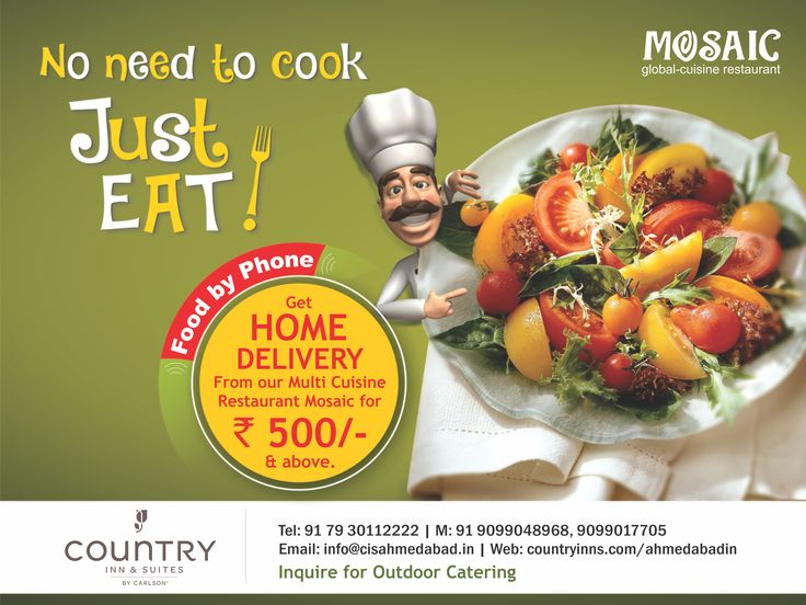 Good News!!! Get Home Delivery for Rs. 500/- & above at only Mosaic Multi-cuisine restaurant Ahmedabad.  Call Now 07930112222 & Enjoy!! Tasty Food