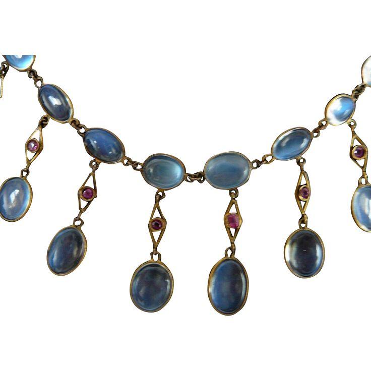 Edwardian Moonstone and Ruby Fringe Necklace 15k Gold.