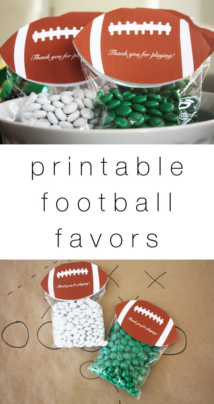 DIY free printable football party favors ... such a cute Superbowl party idea!