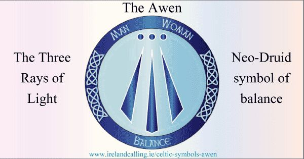 . The Awen is a Celtic word meaning inspiration or essence. The Awen symbol represents inspiration or divine illumination