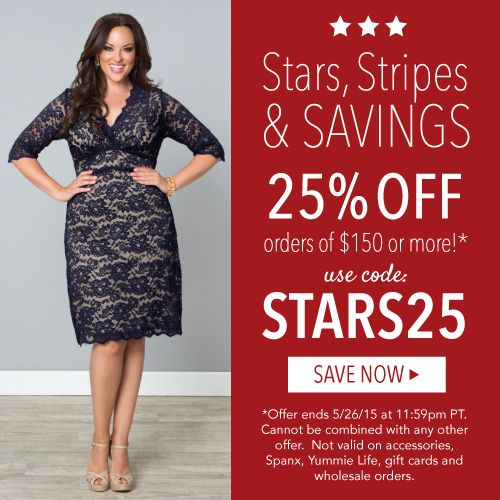 sale http://www.planetgoldilocks.com/plussize_clothing.htm Memorial Day Sale! 25% off orders of $150 or more at #Kiyonna with code STARS25--: Offer expires 5/26/15 #Plussizeclothingcoupon #plussizefashionssale