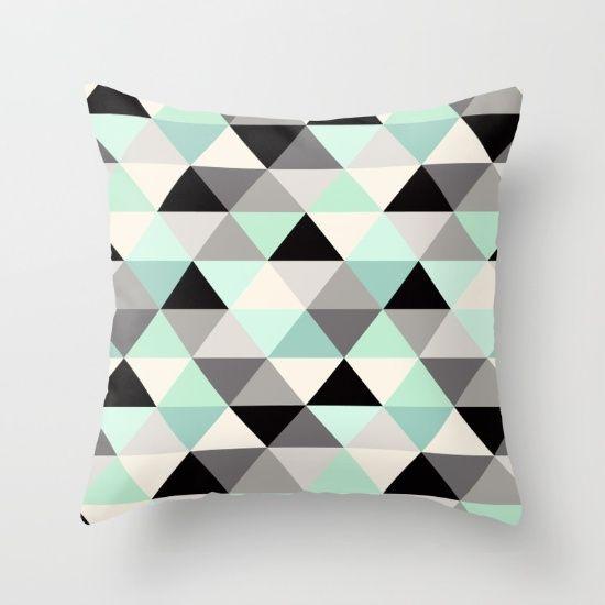 black and white triangle geometric pattern mint throw pillow nursery home decoru2026