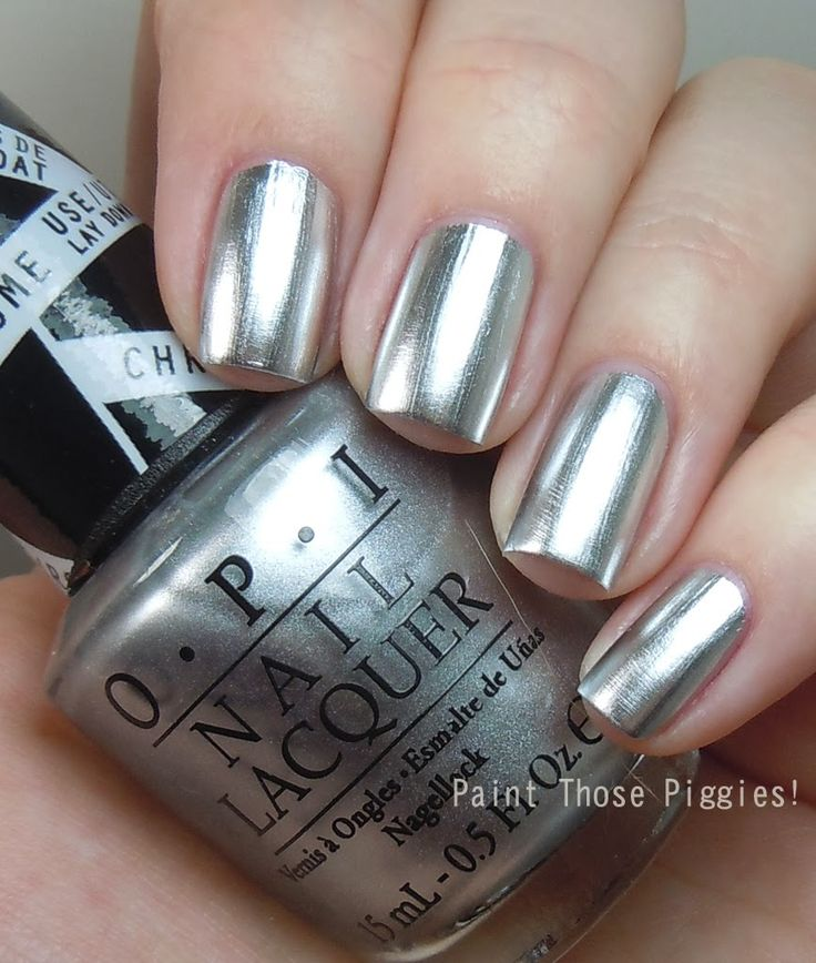 OPI's Push and Shove Nail Polish from its edgy Gwen Stefani collection! Love this shiny, liquid chrome look!