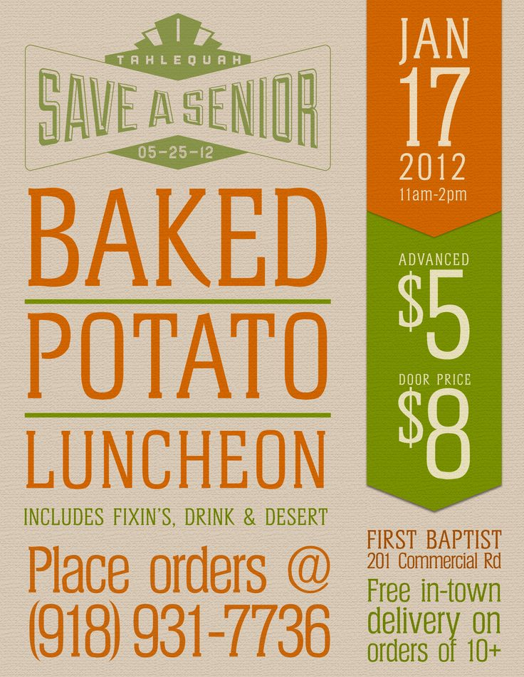 Fundraiser Poster Sample:  Baked Potato Luncheon
