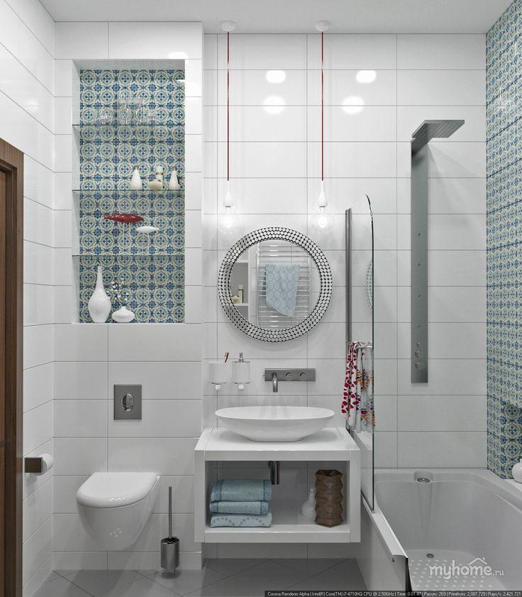 Open glass shelves with tile back splash