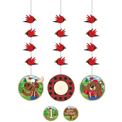 "Canadian Lumberjack 36"" Hanging Cutouts with Stickers - 3pk Party Supplies Canada - Open A Party"