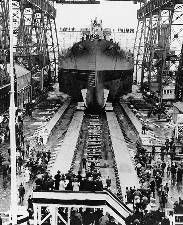 Launching of battleship Alabama, Norfolk Naval Shipyard, Portsmouth, Virginia, United States, 16 Feb 1942 | Source: United States Navy Naval History and Heritage Command
