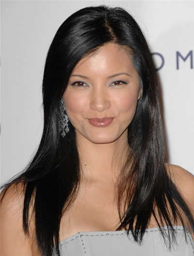 Kelly Hu's long straight brunette hairstyle