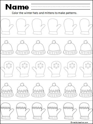 "This is a free hat and mitten pattern worksheet for your Kindergarten and 1st grade students.  Have your students practice fine motor coloring skills while creating patterns.  In common core standards, patterns help students ""Look for and make use of structure"" (Mathmatical Practice)."