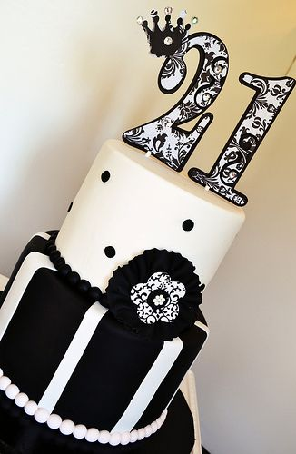 Black White Damask 21st Birthday Cake by Simply Sweet Creations (www.simplysweetonline.com)