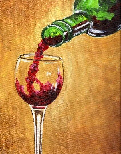 17 best images about wine art on pinterest canvas wall for Can acrylic paint be used on glass bottles