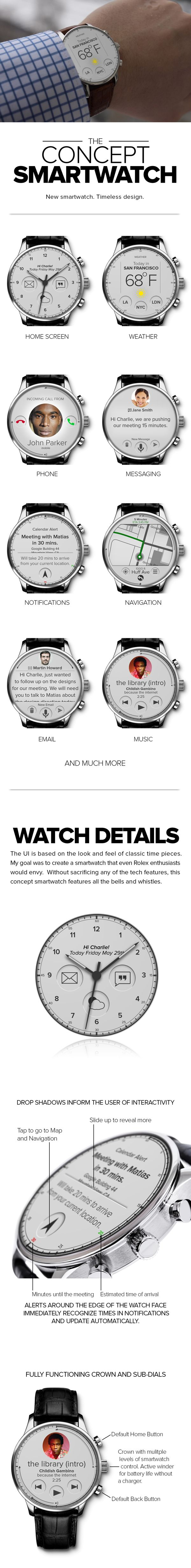 CONCEPT SMARTWATCH by Charlie No, via Behance, I love the concept and thought that has gone into this, bring an icon look into the future.