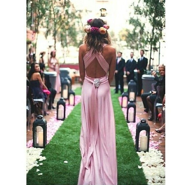 Stunning back shot of Goddess By Nature bridesmaid gown in blushing pink colour #bridesmaid #pink