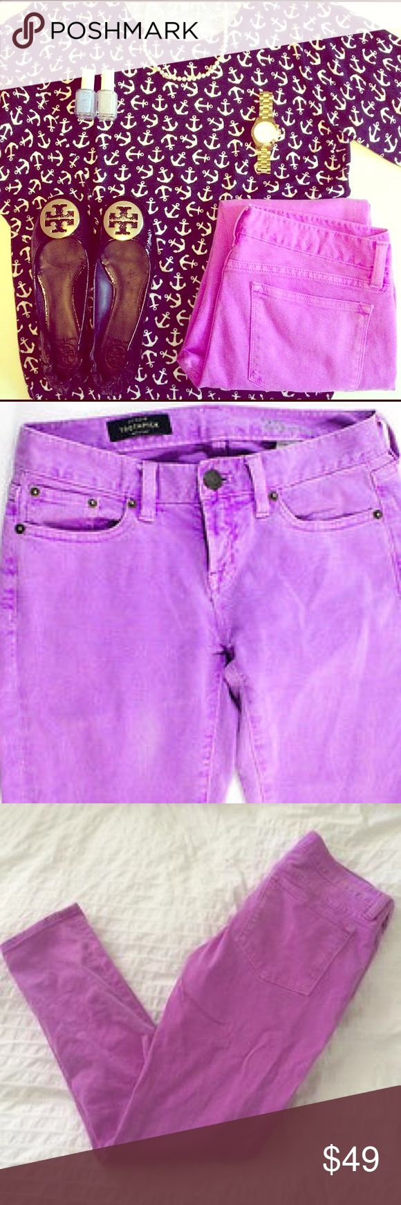"""New J. CREW Toothpick Ankle Jeans in Neon Violet NWOT, these wardrobe winners are sold out online & in stores! By J. CREW, retailing for over $125.00, the company's designers took a bright idea-& ran with it! These sz 30 talk-of-the-town toothpick skinny jeans have the perfect pop of gorgeous color, made using a high end garment dye to creates a vivid, warm shade of neon violet! Sits lower on hips. Slim through hip and thigh, with super slimming, cropped skinny 28""""inseam. Cotton/viscose with…"""