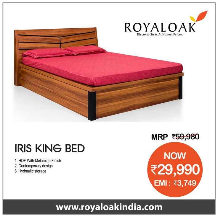 Best Royaloak Serene King Size Bed With Hydraulic Storage And 400 x 300