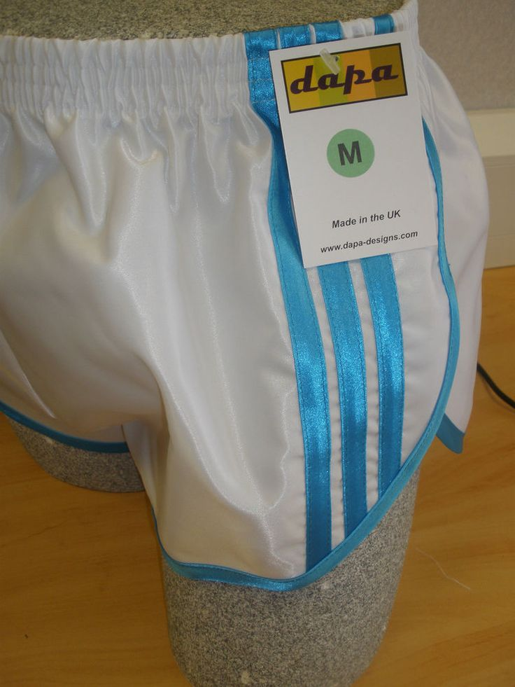 Nylon Glanz Satin SPRINTER Short Small to XXL 70s & 80s Retro, White & Turquoise