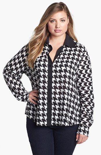 Foxcroft Shaped Graphic Houndstooth Shirt (Plus Size) available at #Nordstrom