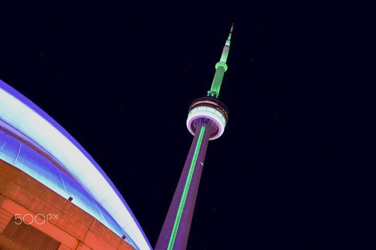 Toronto CN Tower - CN Tower in Toronto, Canada at night.