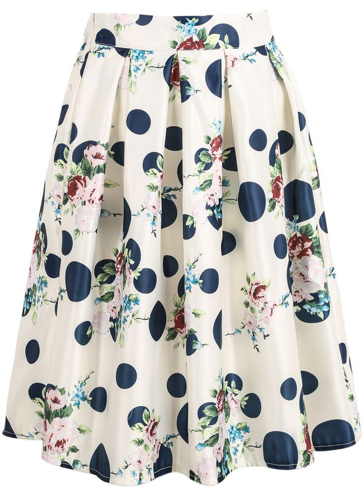 Falda topos floral-blanco 13.18