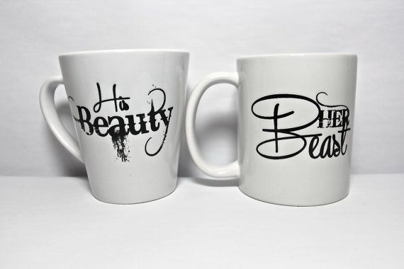 Mug couple set , set of 2 mugs set - Her Beast and Hs Beauty the perfect couple gift wedding gift, housewarming Gift: