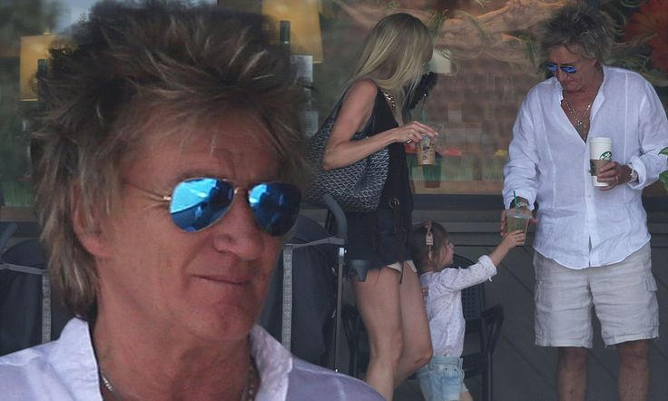 Rod Stewart takes his girls for coffee in Bel Air on Saturday