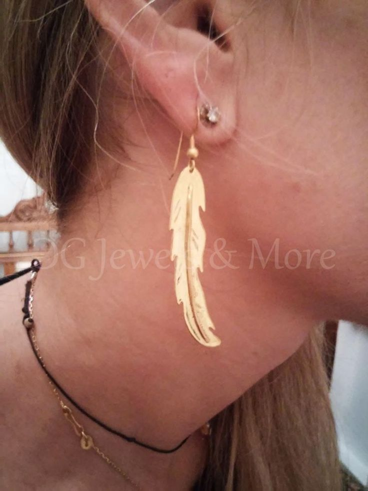Feather gold plated brass dangle earrings hook handcrafted Tinas Creations  #TinasCreations #DropDangle