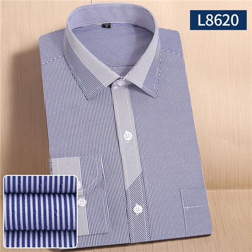 Fashion Spring male tops Striped plaid twill long sleeve turndown collar formal men business dress shirts 21 color