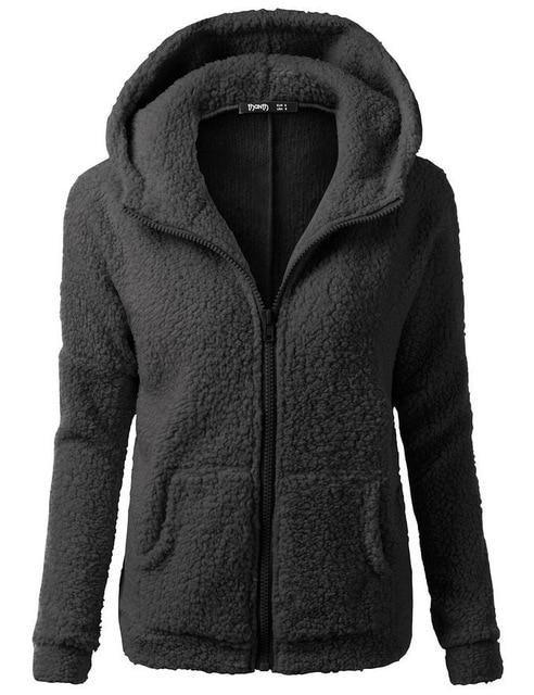 b249712fb25 FLULU Autumn Winter Hoodie Sweatshirt Women 2018 Solid Casual Zipper Thick Plush  Hoodies Jacket Loose Sweatshirts Plus Size 5XL