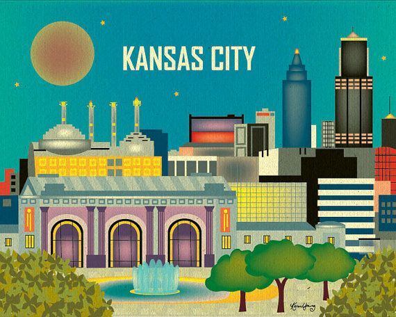 Kansas City Skyline, Missouri - Destination Travel Wall Art Poster Print for Home, Office, Gifts, Nursery - style E8-O-KAN on Etsy, $27.00