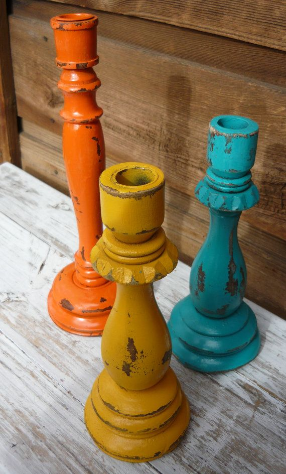 Shabby Chic Santa Fe Style 3 Wooden Candle by MountainMarket, $12.50 They go perfectly with my pottery!