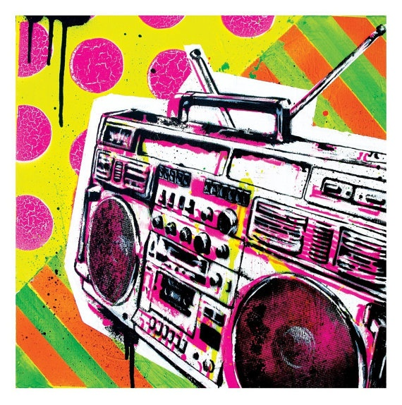 Boombox Pop Art Ghetto Blastin' - 12 x...
