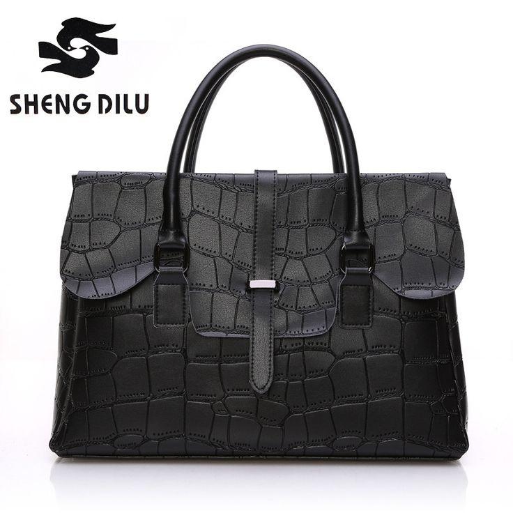 2017 Elegant Genuine Leather Bags for Women Business Crocodile Messenger Bag Cowhide name brand Handbags Woman Handbag Big 3043