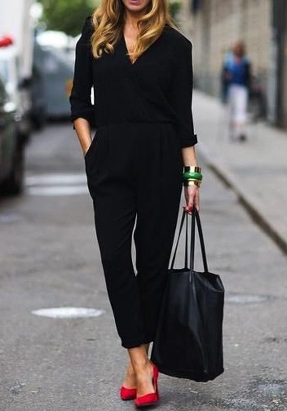 Black Plain Belt Pockets V-neck High Waisted Long Sleeve Fashion Street Long Jumpsuit