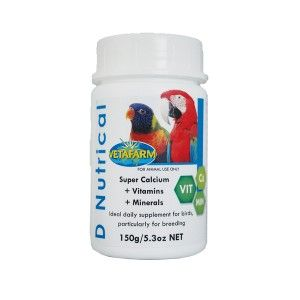 D Nutrical - Used to fortify any food source with calcium, vitamins and minerals. Calcium demand almost doubles during the breeding season and inadequate intake can lead to health problems such as bone weakness or deformities.
