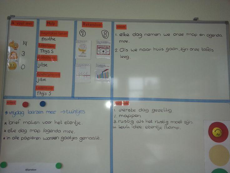 werken met een doelenbord. Hierop worden de successen genoteerd. De acties die gedaan moeten worden. De doelen die we samen in de klas hebben geformuleerd. Hoe voel je je vandaag? En de taken.