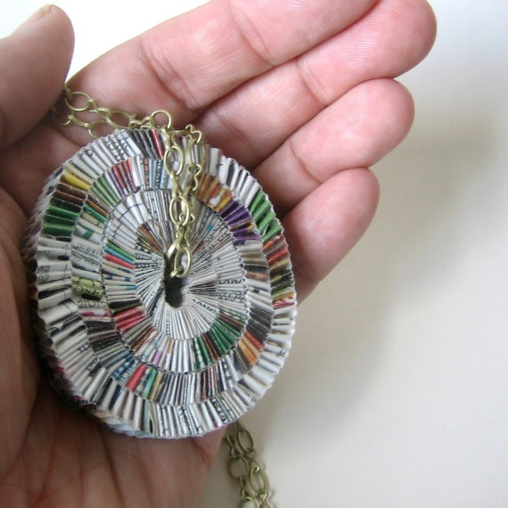 junkmail necklace: Recycle Paper, Junk Mail, Paper Junk, Junkmail, Statement Necklaces, Converse Starters, Brass Chains, Handmade Jewelry, Convers Starters
