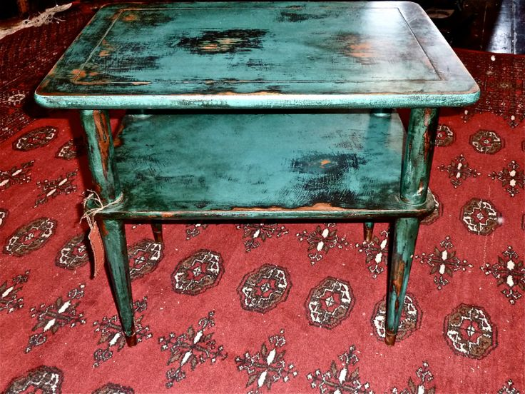 Vintage distressed two level coffee table turquoise teal for Teal coffee table