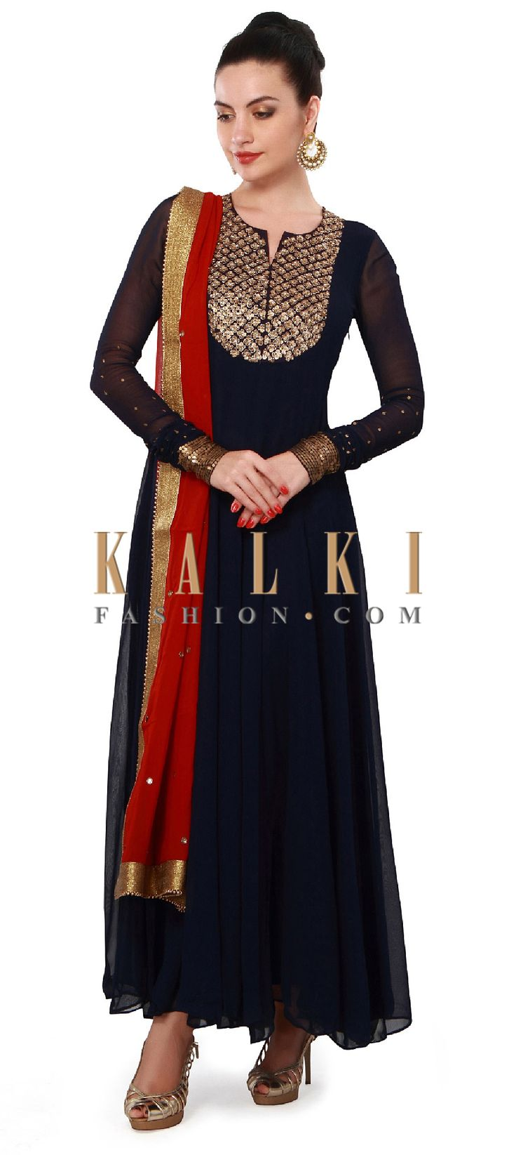 Buy Online from the link below. We ship worldwide (Free Shipping over US$100). Product SKU - 317321. Product Price - $199.00. Product link - http://www.kalkifashion.com/navy-blue-anarkali-suit-features-with-embellished-neckline-only-on-kalki.html