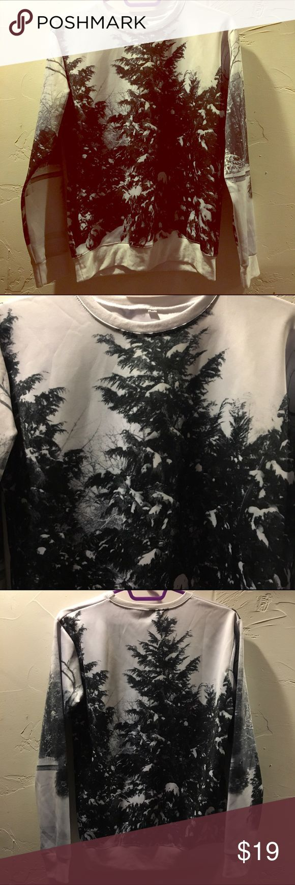 new neoprene/scuba knit tree crew sweatshirt NWOT. Scuba knit crew neck sweatshirt. Photograph of trees on both sides. Tops Sweatshirts & Hoodies